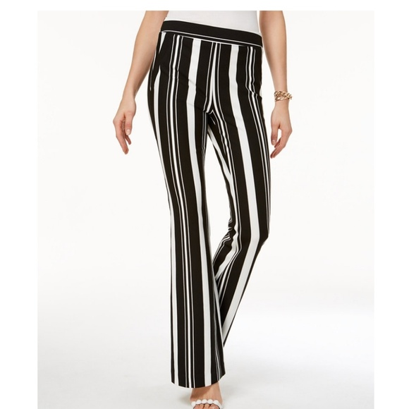 INC International Concepts Pants - INC Petite Striped Ponte-Knit Bootcut Pants